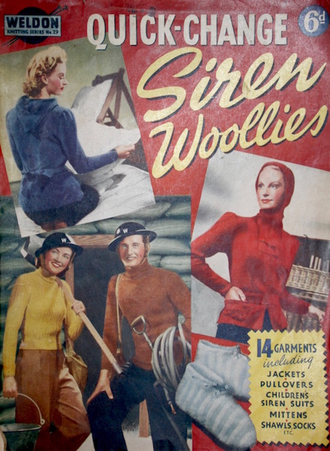 Weldon Knitting no. 29 1940: Quick-Change Siren Woollies - 14 garments including jackets, pullovers, children's siren suits, mittens, shawls, socks, etc.