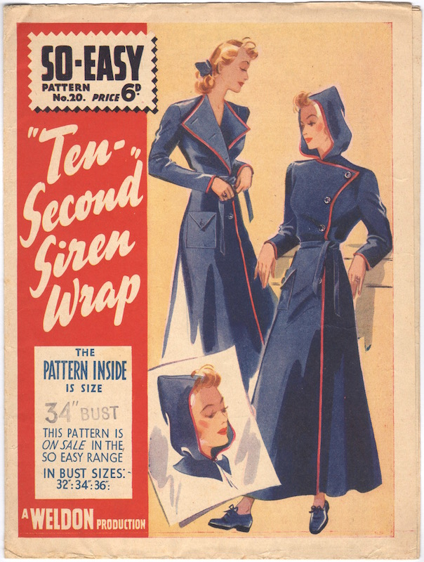 Ten-second siren wrap dressing gown pattern - Weldons So-Easy 20, circa 1940. A Weldon Production.