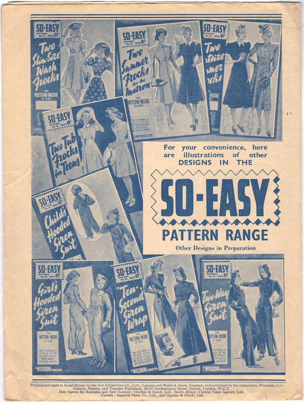 Back of Weldons So-Easy 20, showing other 1940s designs in the So-Easy pattern range