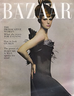 "Donna Mitchell, ""Black silk ottoman cloqué sheath wreathed in feathers by Galanos"" photographed by Melvin Sokolsky for Bazaar, fall 1963"
