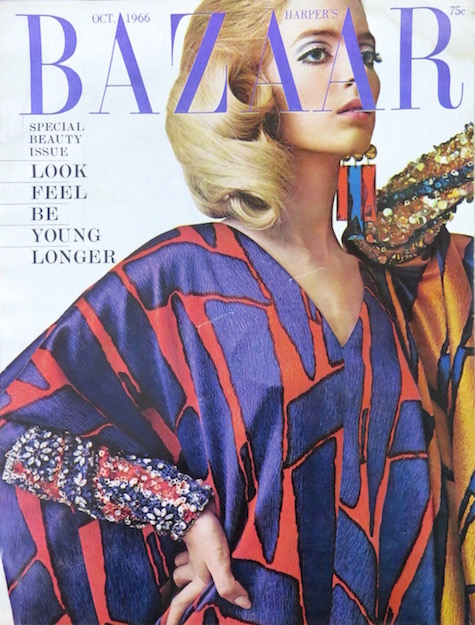 Silk burnooses by Galanos photographed by James Moore for the cover of Harper's Bazaar, October 1966