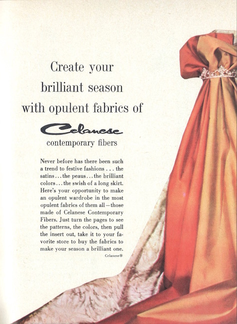 """Create your brilliant season with opulent fabrics of Celanese Contemporary Fibers"" - 1959 Celanese insert"