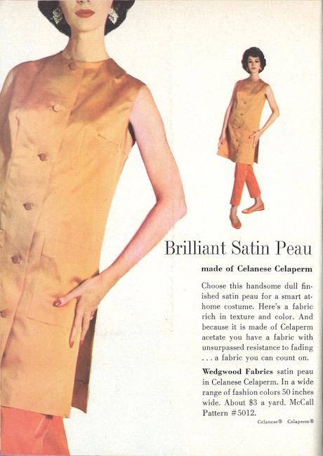 Dovima wears McCall's 5012 in Wedgwood Fabrics' satin peau