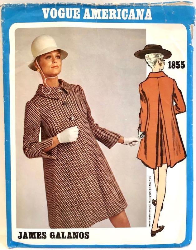 1960s James Galanos coat dress pattern feat. Lauren Hutton - Vogue 1855