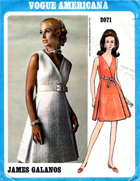 1960s James Galanos evening dress pattern - Vogue 2071