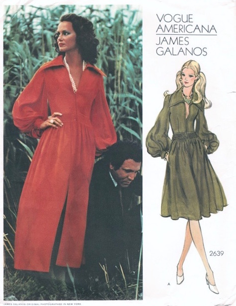 1970s James Galanos evening dress pattern - Vogue 2639