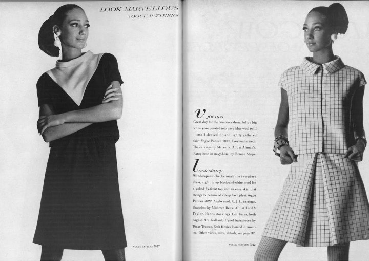 Marisa Berenson photographed by Irving Penn in Vogue 7017 and 7022, shown in Forstmann and Anglo wool