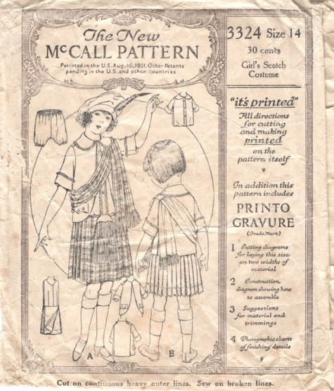 1920s children's Scottish ensemble McCall 3324