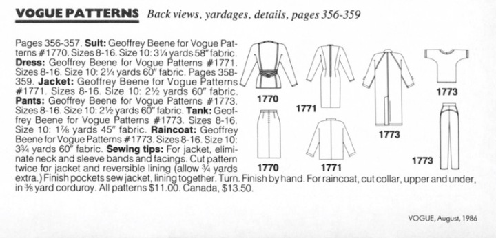 Details on Vogue 1770, 1771, and 1773 by Geoffrey Beene