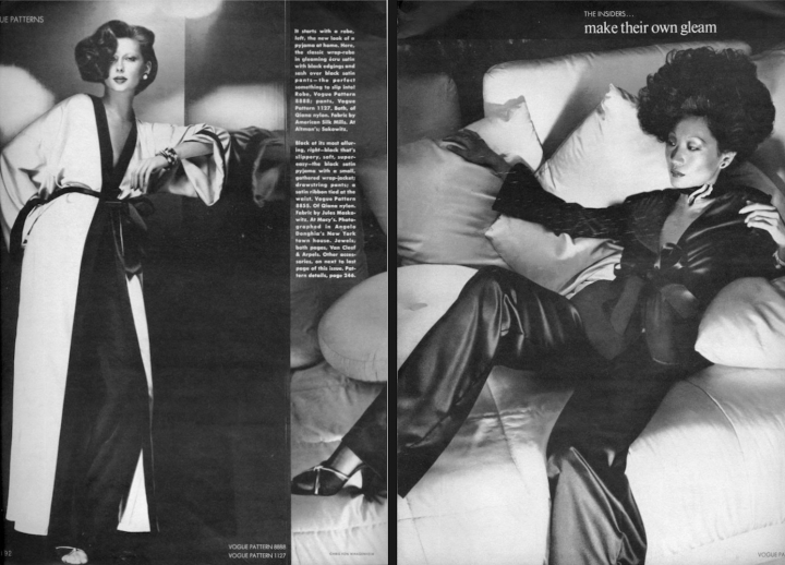 """The Insiders"" - Regina Jaffrey and unknown model in Vogue 8888, 1127, and 8855 photographed by Chris von Wangenheim, 1974"