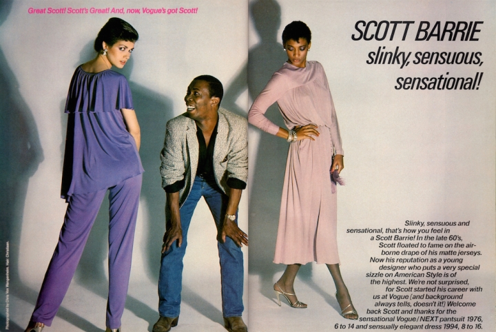 Scott Barrie photographed by Chris von Wangenheim (with Gia Carangi, left) in Vogue Patterns magazine, 1978