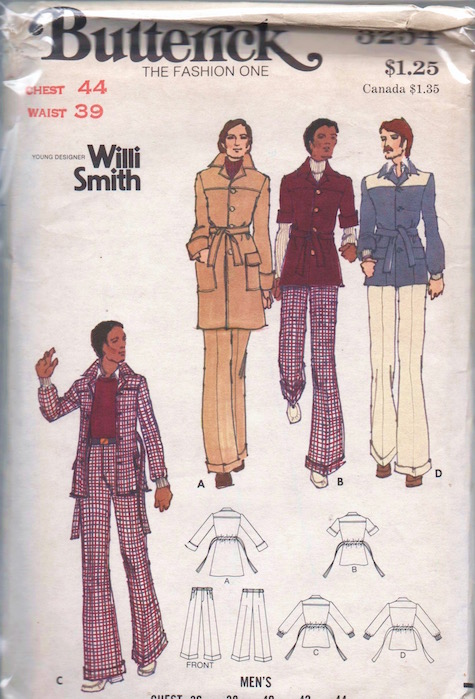1970s Willi Smith menswear pattern Butterick 3254