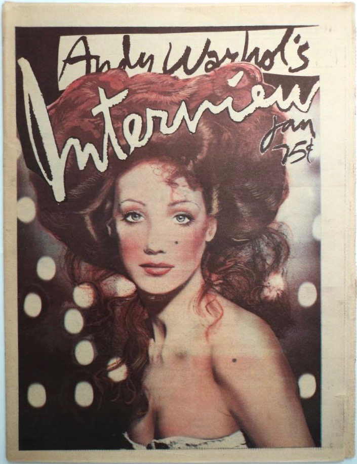 Marisa Berenson promoting Kubrick's Barry Lyndon on the cover of Interview, Jan. 1975