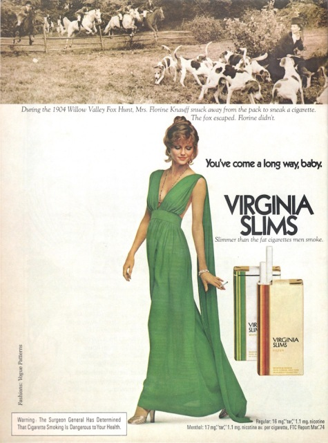 Virginia Slims ad feat. Cheryl Tiegs, Vogue Patterns 1975