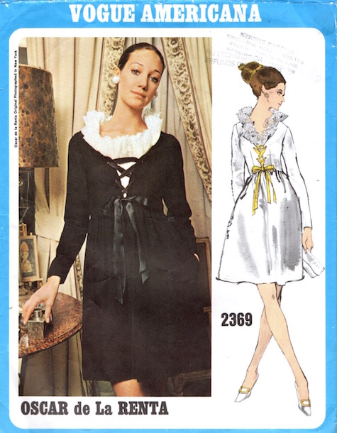 1970s Oscar de la Renta dress pattern feat. Marisa Berenson, Vogue 2369