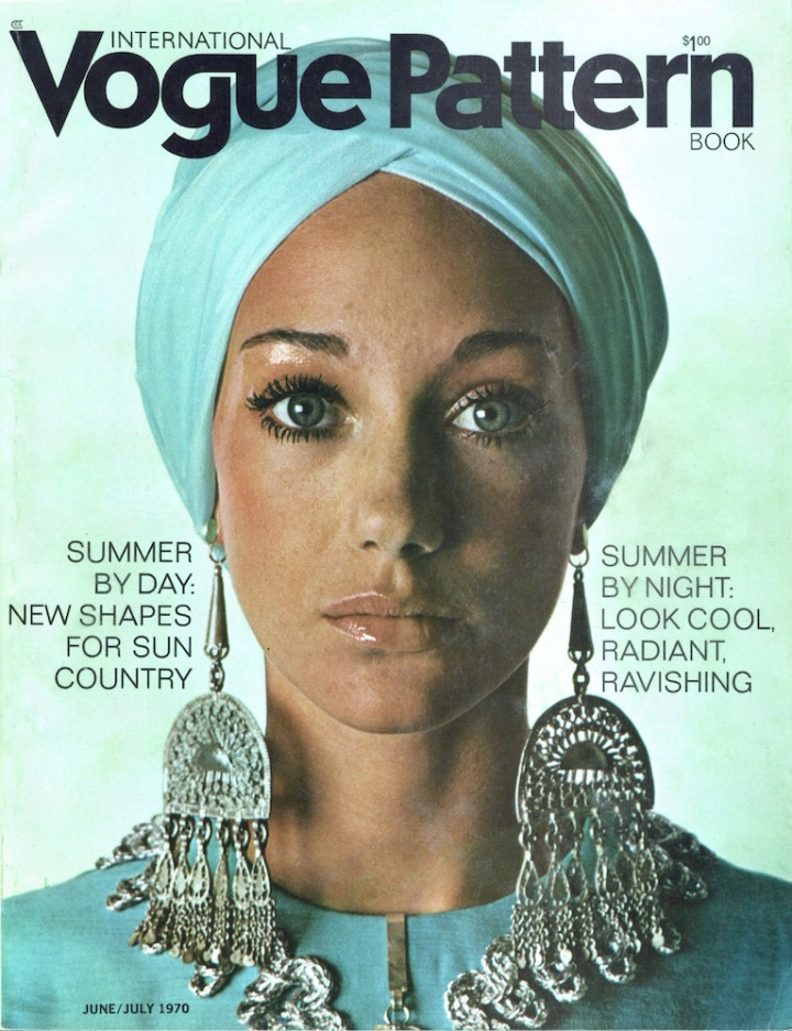Marisa Berenson in Vogue 7827 on the cover of Vogue Pattern Book, June/July 1970