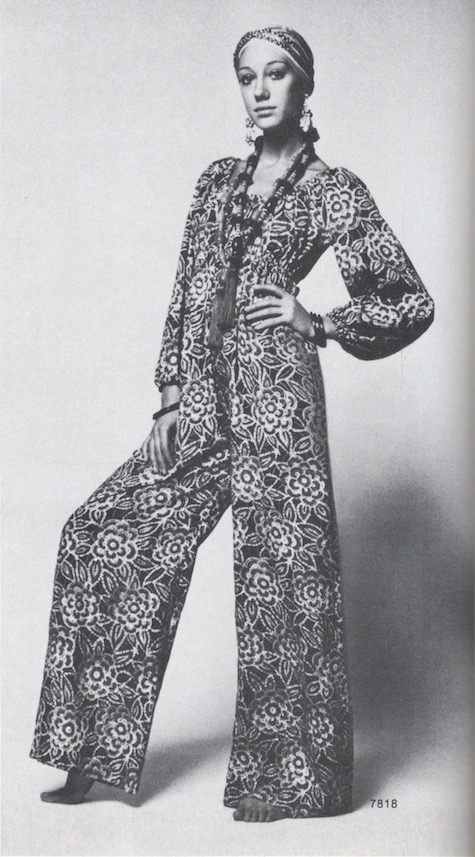 Marisa Berenson wears Vogue 7818 jumpsuit, 1970.