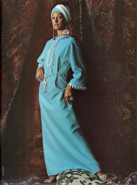 Vogue 7827 caftan in Vogue Pattern Book, June/July 1970. Photo: Otto Storch.