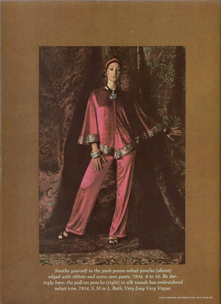 Marisa Berenson in poncho and trousers Vogue 7834, 1970