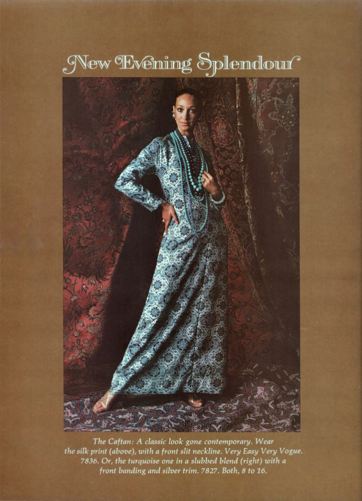 New Evening Splendour: Marisa Berenson in Vogue 7836 caftan, 1970