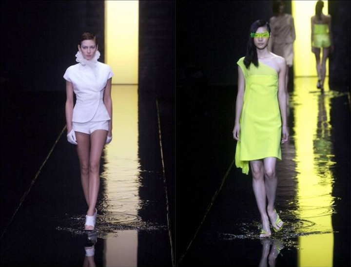 Two looks from Mei Xiao Zhou's Spring 2002 collection for Guy Laroche
