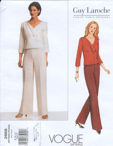 Fall 2001 Mei Xiao Zhou for Guy Laroche pantsuit pattern Vogue 2668