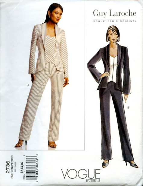 2000s Guy Laroche pinstriped pantsuit pattern Vogue 2736