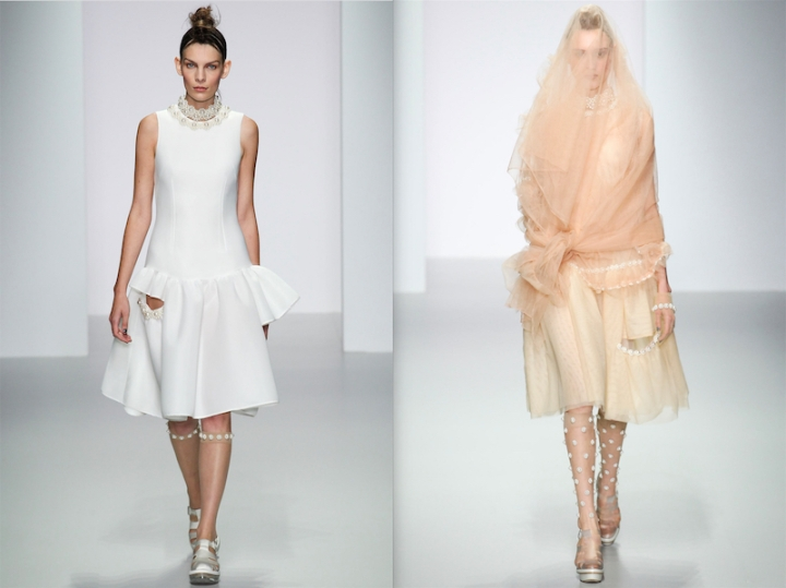 Two pearl-trimmed looks from Simone Rocha's Spring 2014 collection