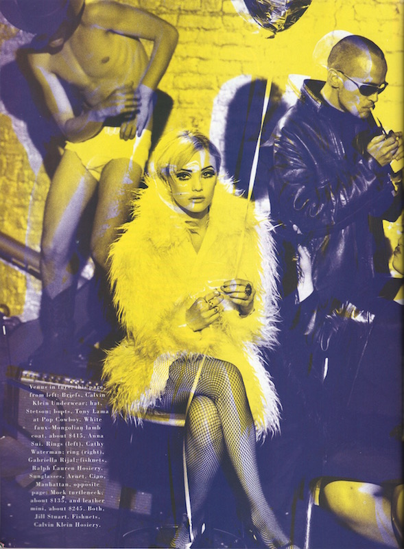 Anna Sui coat in Peter Lindbergh Factory-themed shoot for Bazaar, 1995