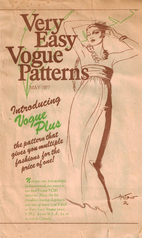 1970s Antonio illustration of Vogue 1641, Very Easy Vogue news