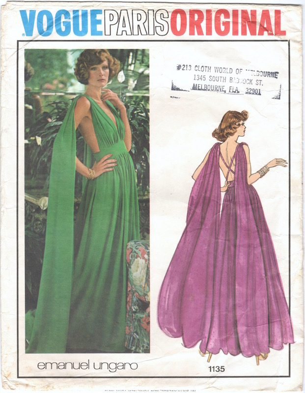 1970s Emanuel Ungaro green gown with shoulder streamers - Vogue Paris Original 1135