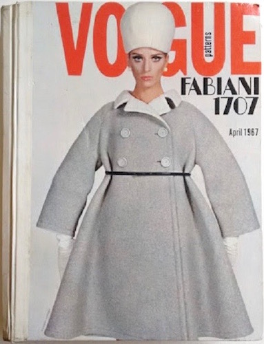 Jill Kennington in Vogue 1707 by Fabiani on the cover of the Vogue retail catalogue, April 1967