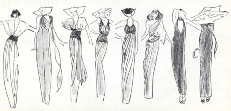 Eight ways to wear an infinity dress - sketch by Lydia Silvestry in Vogue