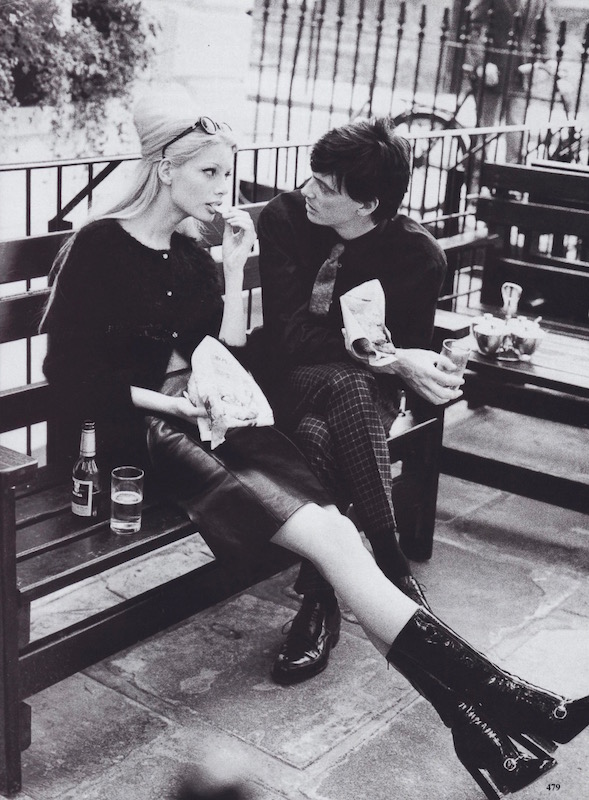 "Kirsty Hume in Anna Sui, with Donovan Leitch, photographed by Arthur Elgort for ""Seasoned Simplicity,"" 1995"