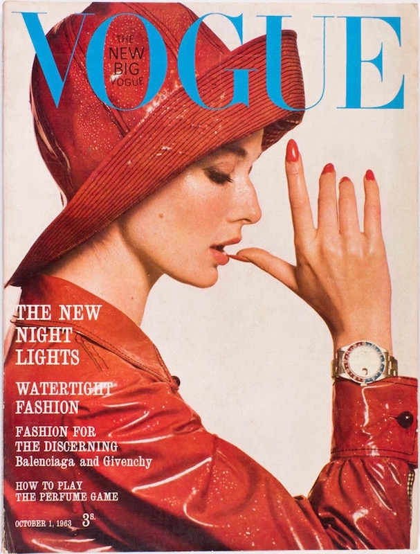 Tania Mallet wears Mary Quant and James Wedge on the cover of British Vogue, October 1, 1963