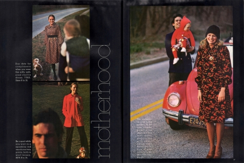 1970s family road trip maternity editorial with VW beetle - Vogue Pattern Book, Aug/Sept 1971