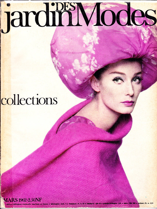 Tania Mallet photographed by Harry Meerson forthe cover of Jardin des Modes, 1962