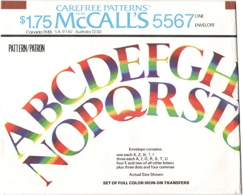 1970s iron-on rainbow transfer alphabet McCall's 5567
