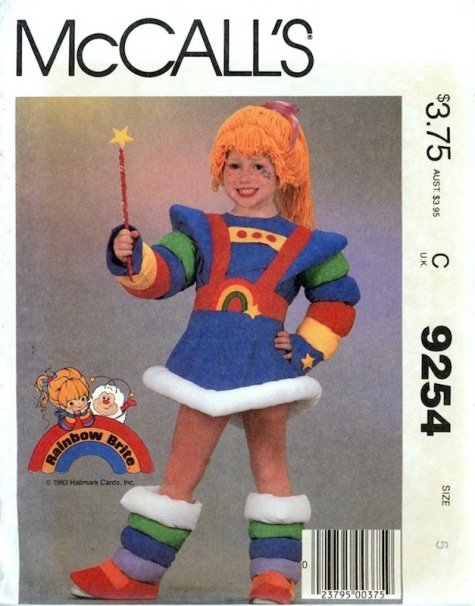 1980s official Rainbow Brite costume pattern McCalls 9254