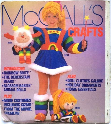 Rainbow Brite costume with Rainbow Brite and Twink dolls - McCall's 9231, 9254, 9238 - McCall's Crafts patterns, 1984
