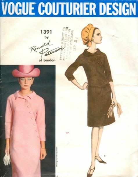 1960s Ronald Paterson dress pattern feat. Tania Mallet, Vogue Couturier Design 1391