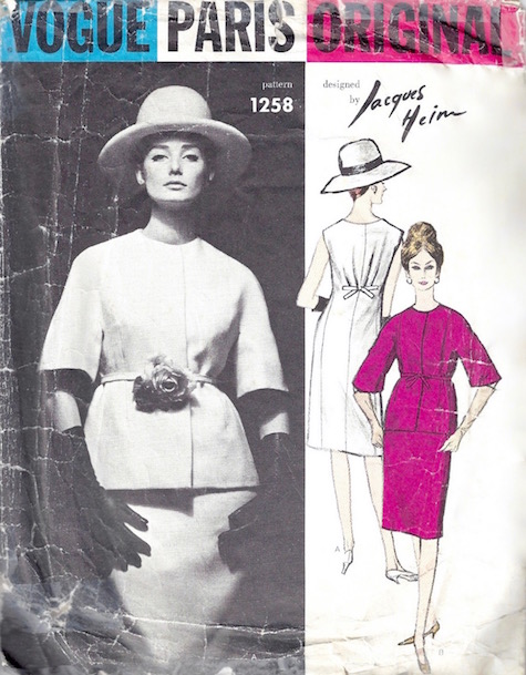 1960s Jacques Heim suit pattern feat. Tania Mallet, Vogue Paris Original 1258
