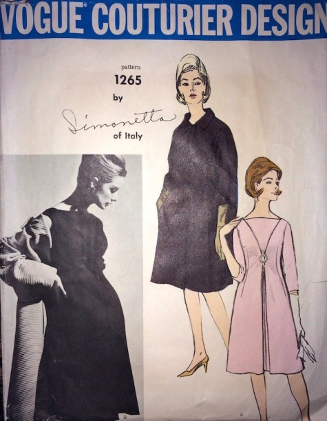 1960s Simonetta dress and coat pattern feat. Tania Mallet, Vogue Couturier Design 1265