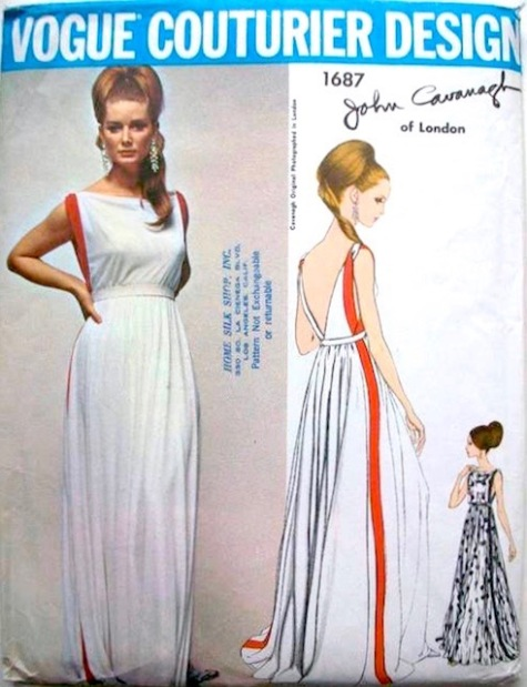 1960s John Cavanagh evening gown pattern feat. Tania Mallet, Vogue Couturier Design 1687