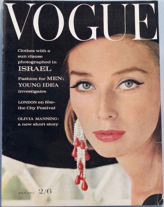Tania Mallet photographed by Henry Clarke for the cover of British Vogue, 1962 (Brania earrings)