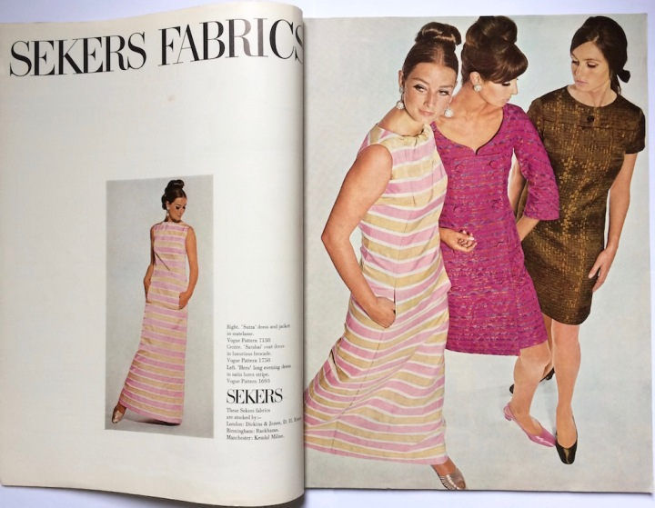 Tania Mallet wears Vogue 1693 by Federico Forquet in striped lurex (with Vogue 1758 by Ronald Paterson and Vogue 7158)