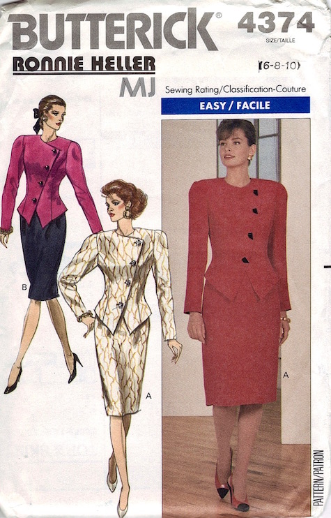 1980s Robbie Heller MJ skirt suit pattern Butterick 4374