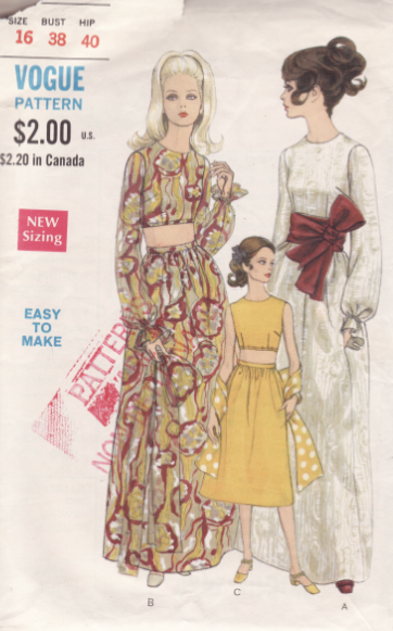 Late 1960s two-piece loungewear and sash pattern Vogue 7430