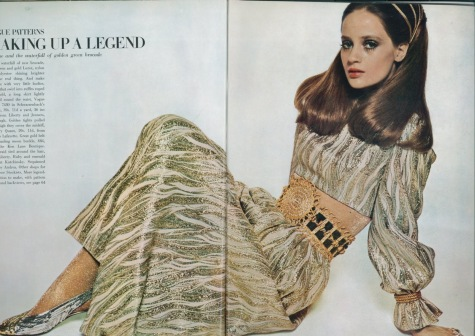 Celia Hammond in Vogue 7430 loungewear, Kenneth Jay Lane belt, and Mary Quant tights, photographed by David Bailey, 1968