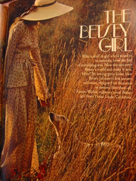 "1970s Betsey Johnson Butterick editorial ""The Betsey Girl,"" photographed by Barbara Bornick"